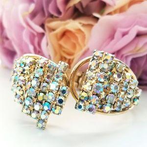 Vintage Aurora Borealis 50's  Clamper Bracelet